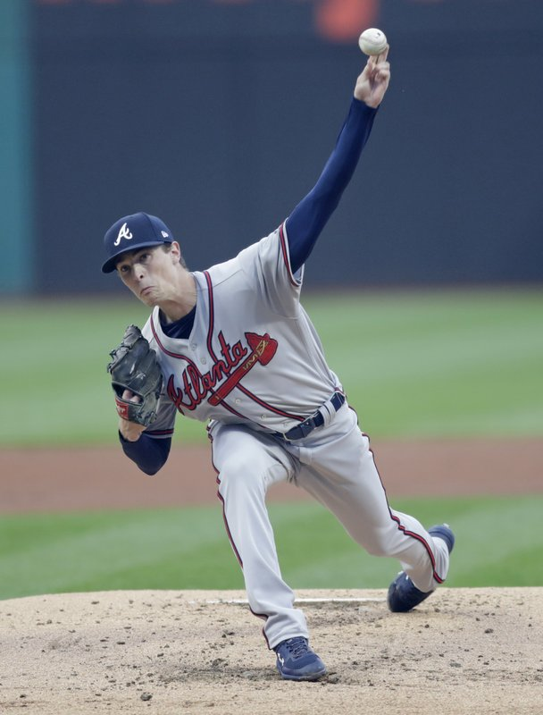 Atlanta Braves starting pitcher Max Fried delivers in the first inning of a baseball game against the Cleveland Indians, Sunday, April 21, 2019, in Cleveland. (AP Photo/Tony Dejak)