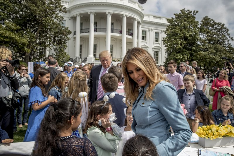 President Donald Trump and first lady Melania Trump greet children during the annual White House Easter Egg Roll on the South Lawn of the White House, Monday, April 22, 2019, in Washington. (AP Photo/Andrew Harnik)