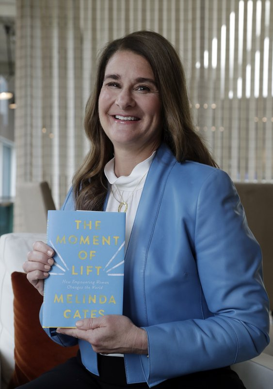 In this photo taken Thursday, April 18, 2019, Melinda Gates poses for a photo with her new book,