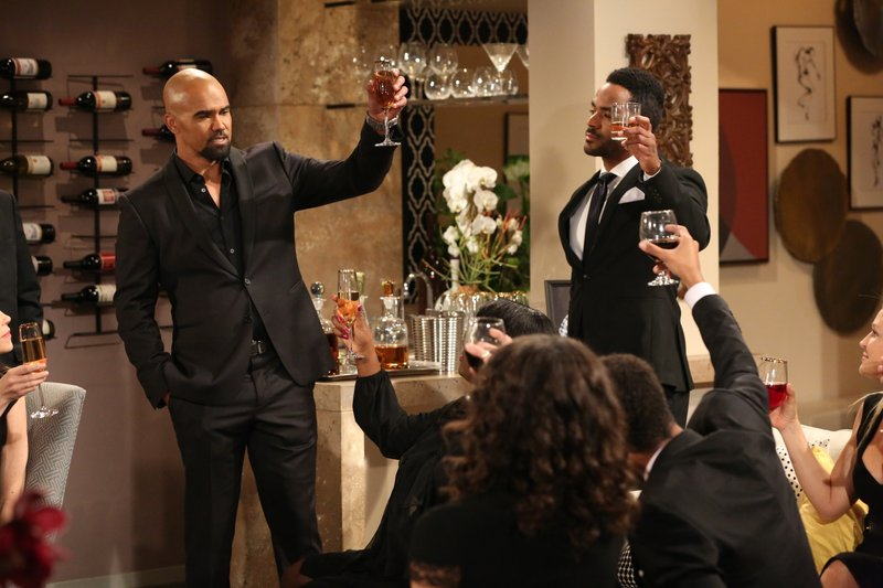 CORRECTS CHARACTER NAME FROM MORGAN TO WINTERS - This image released by CBS shows Shemar Moore portraying Malcolm Winters, left, in a scene honoring the character Neil Winters, portrayed by the late actor Kristoff St. (Michael Yarish/CBS via AP)