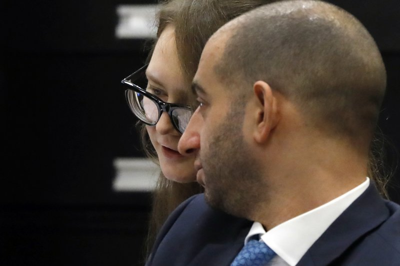 Anna Sorokin, and her attorney Todd Spodek, confer during her trial at New York State Supreme Court, in New York, Monday, April 22, 2019. (AP Photo/Richard Drew)