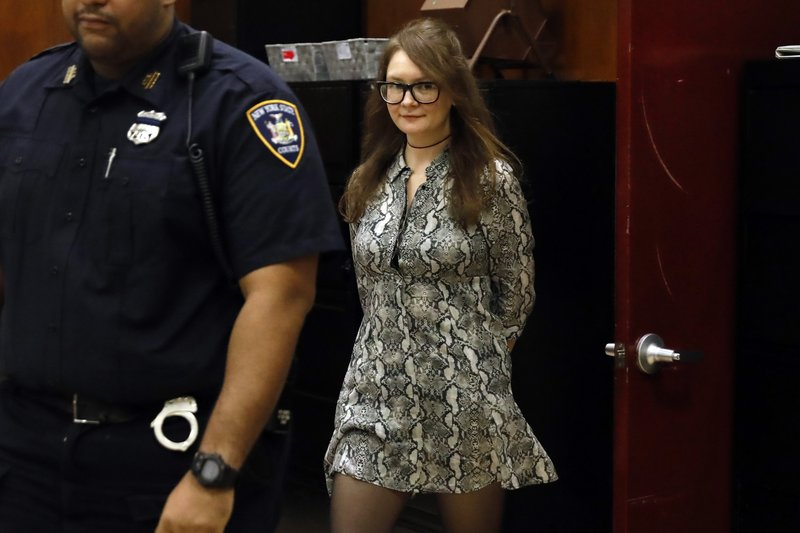 Anna Sorokin returns from a recess during her trial at New York State Supreme Court, in New York, Monday, April 22, 2019. (AP Photo/Richard Drew)