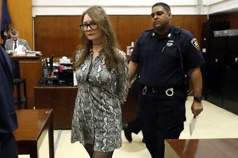 Anna Sorokin arrives for her trial at New York State Supreme Court, in New York, Monday, April 22, 2019. (AP Photo/Richard Drew)
