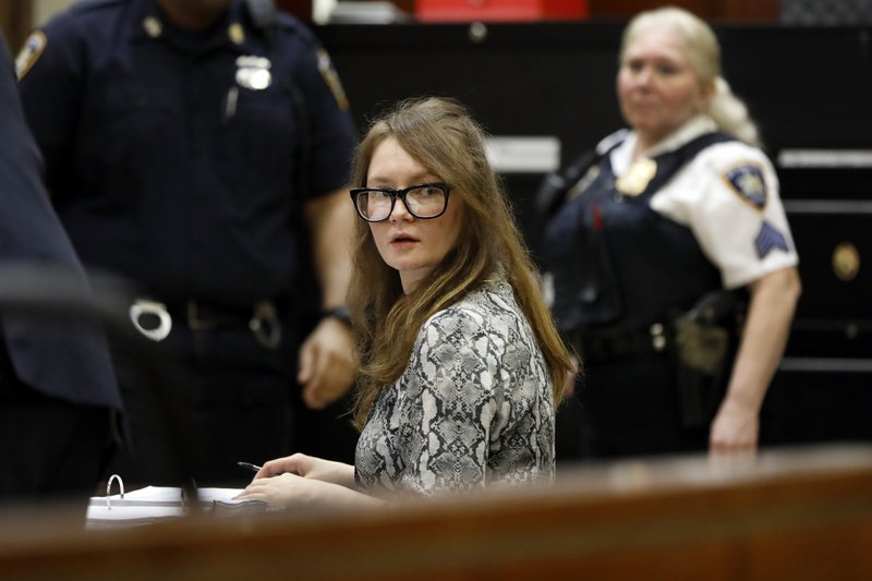 Anna Sorokin sits at the defense table during her trial at New York State Supreme Court, in New York, Monday, April 22, 2019. (AP Photo/Richard Drew)