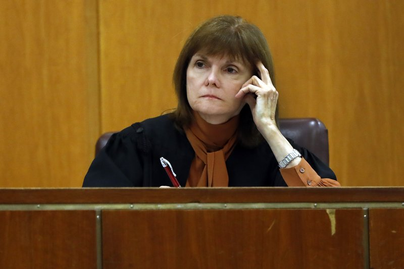 Judge Diane Kiesel listens to testimony during the trial of Anna Sorokin in New York State Supreme Court, in New York, Monday, April 22, 2019. (AP Photo/Richard Drew)