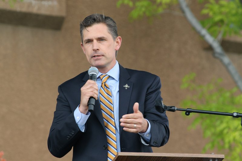 U.S. Sen. Martin Heinrich, D-New Mexico, talks about the state's move toward more renewable energy during an event in Albuquerque, N. (AP Photo/Susan Montoya Bryan)
