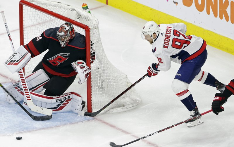 Carolina Hurricanes goalie Petr Mrazek, of the Czech Republic, defends against Washington Capitals' Evgeny Kuznetsov (92), of Russia, during the second period of Game 6 of an NHL hockey first-round playoff series in Raleigh, N. (AP Photo/Gerry Broome)