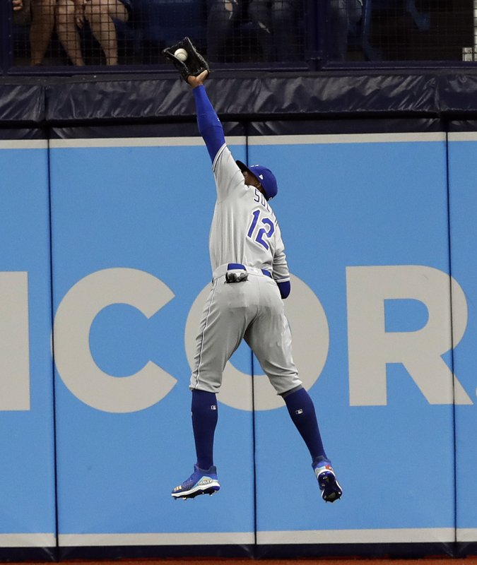 Kansas City Royals right fielder Jorge Soler makes a leaping catch of a fly-out by Tampa Bay Rays' Joey Wendle during the first inning of a baseball game Monday, April 22, 2019, in St. (AP Photo/Chris O'Meara)