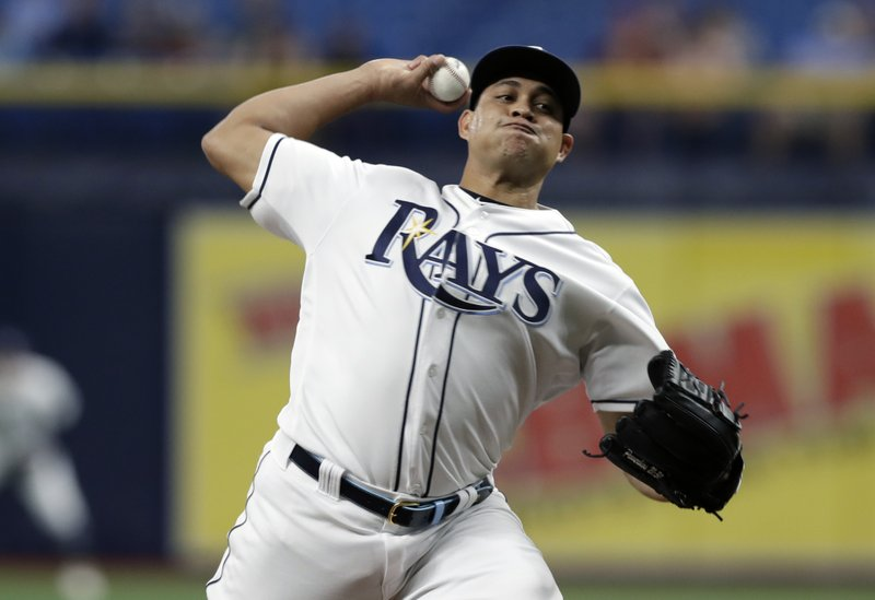 Tampa Bay Rays pitcher Yonny Chirinos delivers to the Kansas City Royals during the first inning of a baseball game Monday, April 22, 2019, in St. (AP Photo/Chris O'Meara)