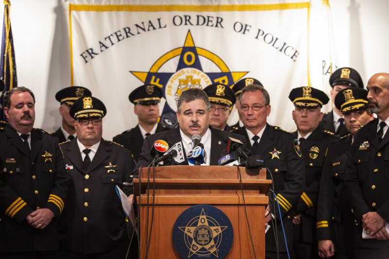 FILE - In this April 4, 2019, file photo, Chicago police union president Kevin Graham speaks during a press conference in Chicago, to announce a