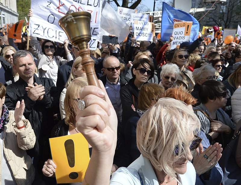 Teachers from across Poland gather in Warsaw, Tuesday, April 23, 2019. The teachers demand higher wages in a long-running dispute that is emerging as another fissure in a deeply divided society. (AP Photo/Czarek Sokolowski)
