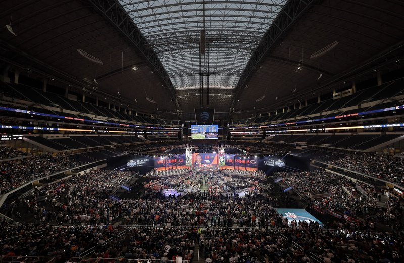 FILE - This April 26, 2018, file photo, shows a general overall view of AT&T Stadium as Georgia's Roquan Smith is selected by the Chicago Bears during the first round of the NFL football draft, in Arlington, Texas. (AP Photo/David J. Phillip, File)