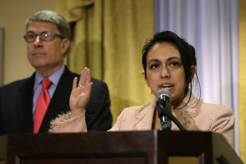 Gloria Schmidt, a lawyer for Olabinjo Osundairo and Abimbola Osundairo, who said they helped Jussie Smollett stage a racist and homophobic attack against himself, speaks during a news conference Tuesday, April 23, 2019, in Chicago. (AP Photo/Kiichiro Sato)