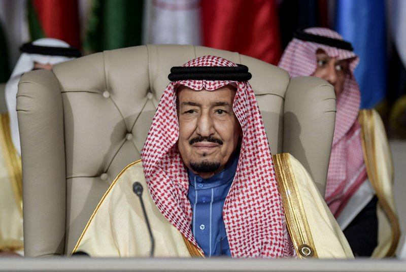 FILE - In this March 31, 2019 file photo, Saudi Arabia's King Salman attends the opening session of the 30th Arab League summit in Tunis, Tunisia. (Fethi Belaid/Pool Photo via AP, File)
