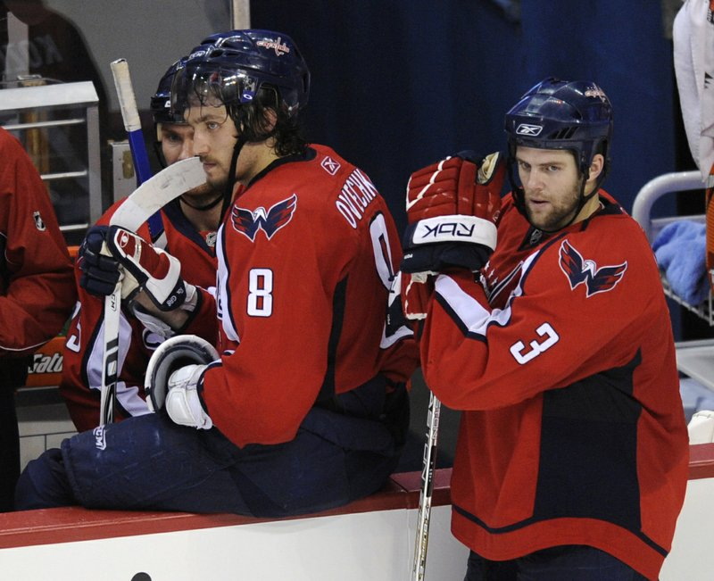 FILE - In this April 22, 2008, file photo, Washington Capitals' Alex Ovechkin (8), of Russia, and Tom Poti (3) head off the ice after the Philadelphia Flyers' 3-2 victory in overtime of Game 7 of a first-round NHL hockey playoff series in Washington. (AP Photo/Nick Wass, File)