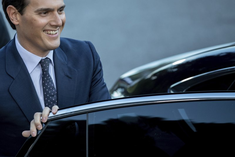 Citizens party's Albert Rivera candidate arrives at Atresmedia headquarters to attend the second televised live debate ahead of Sunday's general election in San Sebastian de los Reyes, outskirts of Madrid, Spain, Tuesday, April 23, 2019. (AP Photo/Bernat Armangue)