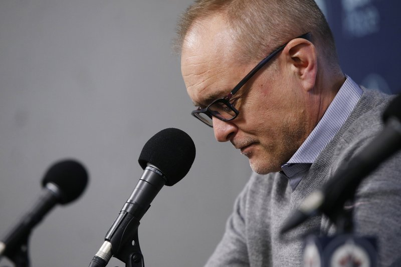 Winnipeg Jets NHL hockey team head coach Paul Maurice speaks to media at their closing press conference after losing in the first round of the playoffs, in Winnipeg, Manitoba, on Monday, April 22, 2019. (John Woods/The Canadian Press via AP)