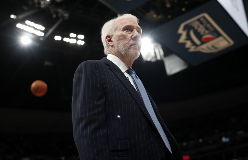 San Antonio Spurs head coach Gregg Popovich prepares for Game 5 of an NBA basketball first round playoff series against the Denver Nuggets, Tuesday, April 23, 2019, in Denver. (AP Photo/David Zalubowski)