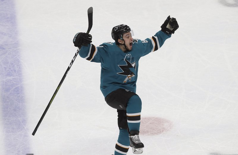 San Jose Sharks right wing Kevin Labanc (62) celebrates after scoring a goal against the Vegas Golden Knights during the third period of Game 7 of an NHL hockey first-round playoff series in San Jose, Calif. (AP Photo/Jeff Chiu)