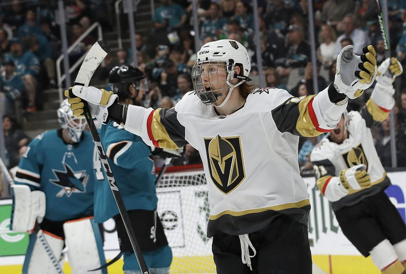 Vegas Golden Knights center Cody Eakin celebrates after scoring a goal against the San Jose Sharks during the second period of Game 7 of an NHL hockey first-round playoff series in San Jose, Calif. (AP Photo/Jeff Chiu)