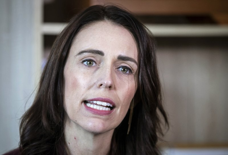 New Zealand Prime Minister Jacinda Ardern speaks to media at her electorate office in Aukland, New Zealand Wednesday, April 24, 2019. (Jason Oxenham/New Zealand Herald via AP)