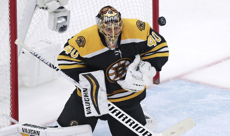 Boston Bruins goaltender Tuukka Rask makes a save during the third period of Game 7 of an NHL hockey first-round playoff series against the Toronto Maple Leafs, Tuesday, April 23, 2019, in Boston. (AP Photo/Charles Krupa)