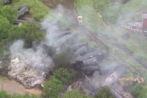 Train cars carrying ethanol catch fire in Texas derailment
