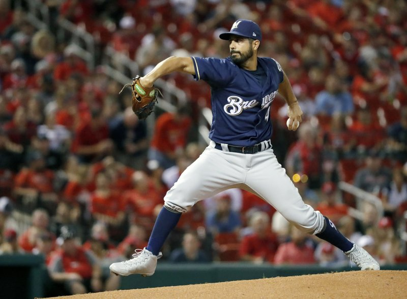 FILE - In this Sept. 25, 2018, file photo, Milwaukee Brewers starting pitcher Gio Gonzalez throws during the first inning of a baseball game against the St. (AP Photo/Jeff Roberson, File)