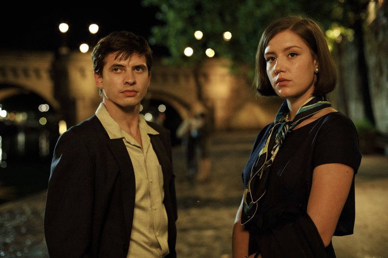 This image released by Sony Pictures Classics shows Oleg Ivenko as Rudolf Nureyev, left, and Adèle Exarchopoulos as Clara Saintin a scene from