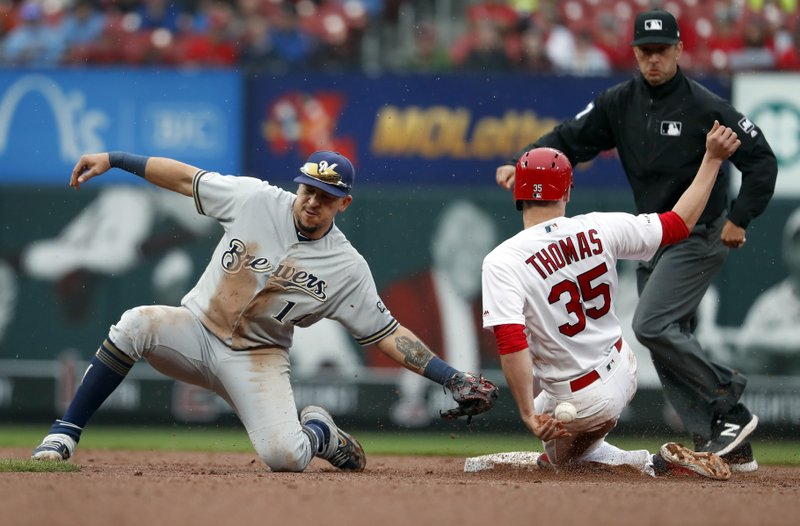 St. Louis Cardinals' Lane Thomas (35) is safe at second for a stolen base as the throw gets away from Milwaukee Brewers second baseman Hernan Perez during the eighth inning of a baseball game Wednesday, April 24, 2019, in St. (AP Photo/Jeff Roberson)