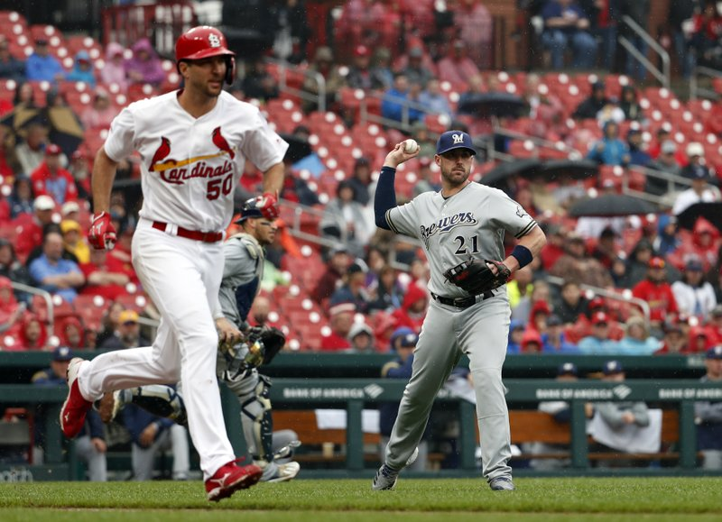 Milwaukee Brewers third baseman Travis Shaw (21) throws out St. Louis Cardinals' Adam Wainwright during the third inning of a baseball game Wednesday, April 24, 2019, in St. (AP Photo/Jeff Roberson)