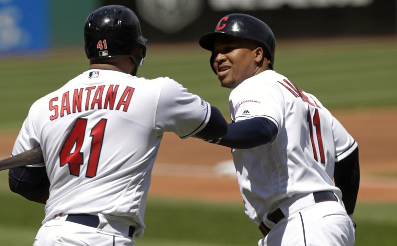 Cleveland Indians' Jose Ramirez, right, is congratulated by Carlos Santana after Ramirez hit a solo home run off Miami Marlins starting pitcher Sandy Alcantara in the first inning of a baseball game, Wednesday, April 24, 2019, in Cleveland. (AP Photo/Tony Dejak)