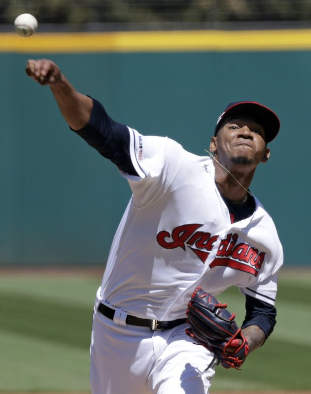 Cleveland Indians starting pitcher Jefry Rodriguez delivers in the first inning of a baseball game against the Miami Marlins, Wednesday, April 24, 2019, in Cleveland. (AP Photo/Tony Dejak)