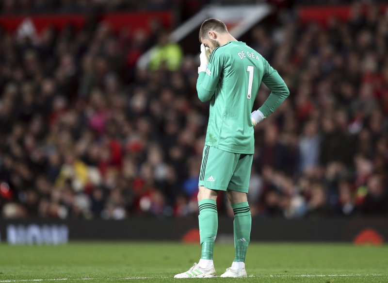 Manchester United goalkeeper David de Gea reacts during the English Premier League soccer match between Manchester United and Manchester City at Old Trafford Stadium in Manchester, England, Wednesday April 24, 2019. (AP Photo/Jon Super)
