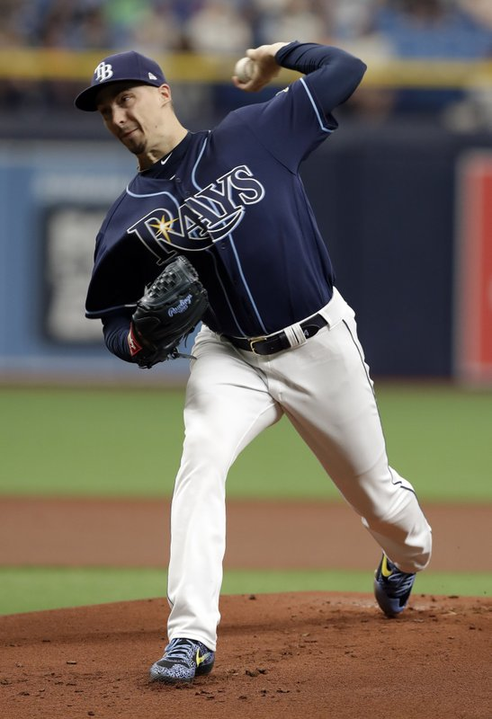 Tampa Bay Rays pitcher Blake Snell delivers to the Kansas City Royals during the first inning of a baseball game Wednesday, April 24, 2019, in St. (AP Photo/Chris O'Meara)