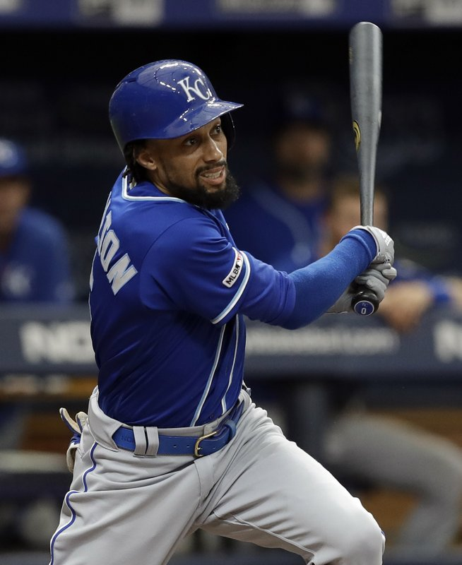 Kansas City Royals' Billy Hamilton follows the flight of his RBI-double off Tampa Bay Rays relief pitcher Ryan Yarbrough during the fourth inning of a baseball game Wednesday, April 24, 2019, in St. (AP Photo/Chris O'Meara)