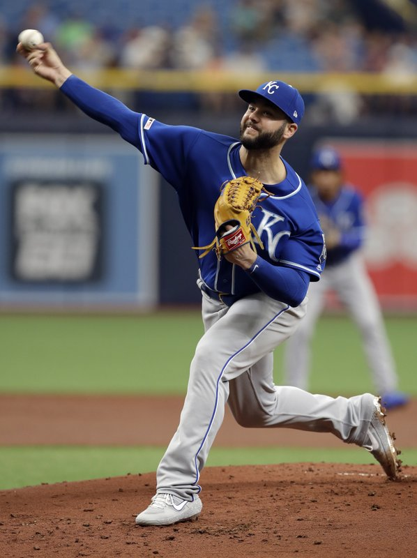 Kansas City Royals' Jakob Junis pitches to the Tampa Bay Rays during the first inning of a baseball game Wednesday, April 24, 2019, in St. (AP Photo/Chris O'Meara)