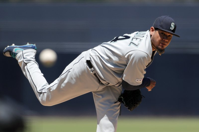 Seattle Mariners starting pitcher Felix Hernandez works against a San Diego Padres batter during the first inning of a baseball game Wednesday, April 24, 2019, in San Diego. (AP Photo/Gregory Bull)