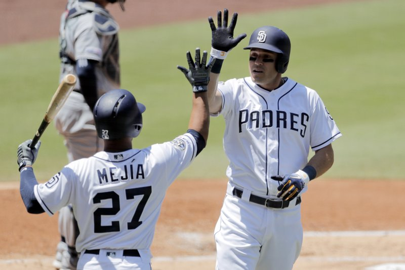 San Diego Padres' Ian Kinsler, right, celebrates with teammate Francisco Mejia (27) after hitting a home run during the second inning of a baseball game Wednesday, April 24, 2019, in San Diego. (AP Photo/Gregory Bull)