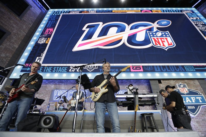 The band Sixwire rehearses on the NFL stage ahead of the first-round NFL Draft, Wednesday, April 24, 2019, in Nashville, Tenn. (AP Photo/Mark Humphrey)