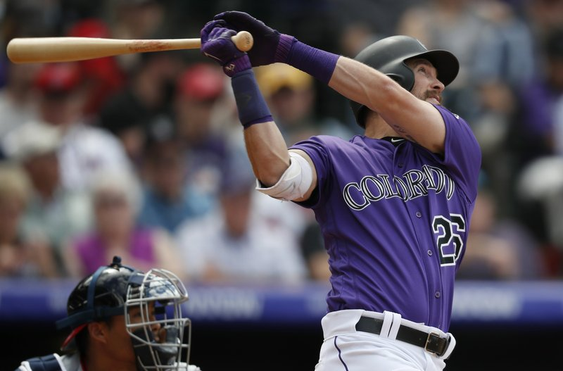 Colorado Rockies' David Dahl follows the flight of his double off Washington Nationals relief pitcher Matt Grace in the sixth inning of a baseball game Wednesday, April 24, 2019, in Denver. (AP Photo/David Zalubowski)