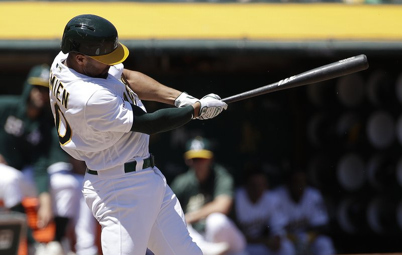 Oakland Athletics' Marcus Semien hits a three-run home run against the Texas Rangers during the second inning of a baseball game in Oakland, Calif. (AP Photo/Jeff Chiu)