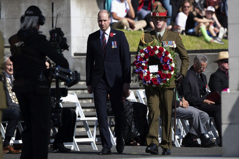 Britain's Prince William lays a wreath during an Anzac Day service in Auckland, New Zealand, Thursday, April 25, 2019. (Brett Phibbs/SNPA via AP)