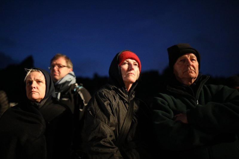 People attend he Dawn Service ceremony at the Anzac Cove beach, the site of World War I landing of the ANZACs (Australian and New Zealand Army Corps) on April 25, 1915, in Gallipoli peninsula, Turkey, early Thursday, April 25, 2019. (AP Photo/Emrah Gurel)