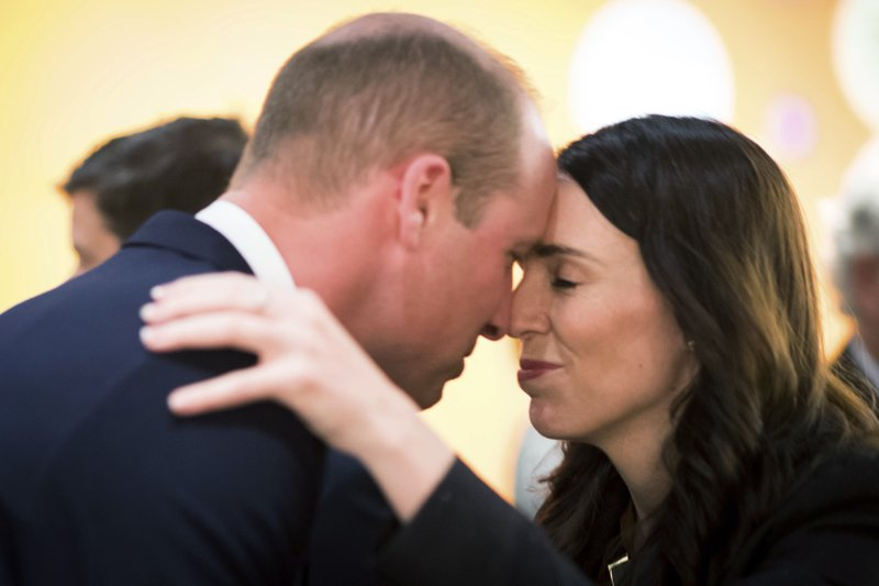 Britain's Prince William and New Zealand's Prime Minister Jacinda Ardern attend an Anzac Day service at Auckland War Memorial Museum in Auckland, New Zealand Thursday, April 25, 2019. (Mark Tantrum/The New Zealand Government via AP)
