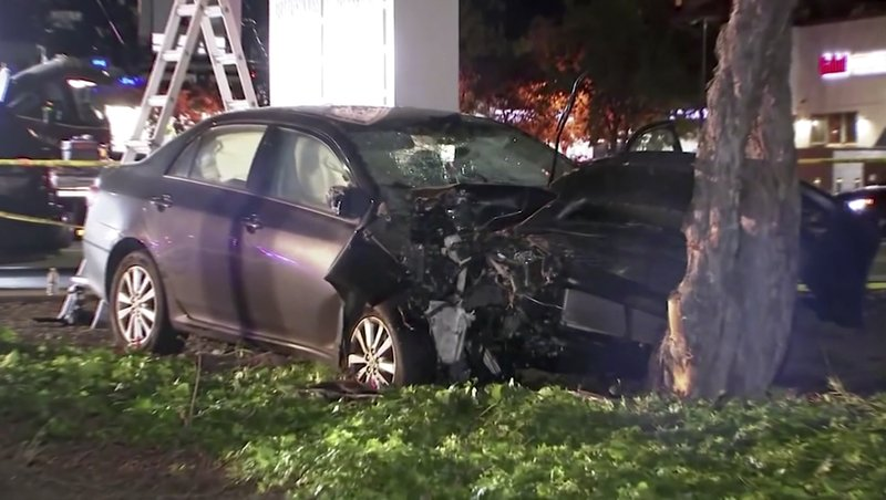 This April 23, 2019,  image from video provided by KGO-TV, shows the scene of a car crash where several pedestrians were struck and injured in Sunnyvale, Calif. (KGO-TV via AP)