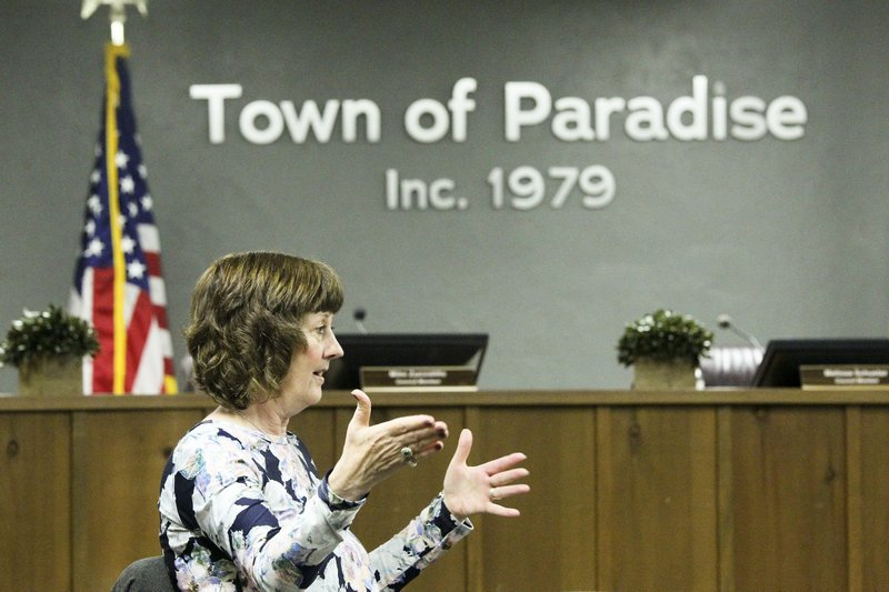 In this April 17, 2019, photo Paradise Mayor Jody Jones talks during an interview in Paradise, Calif. (Hung T. Vu/The Record Searchlight via AP)