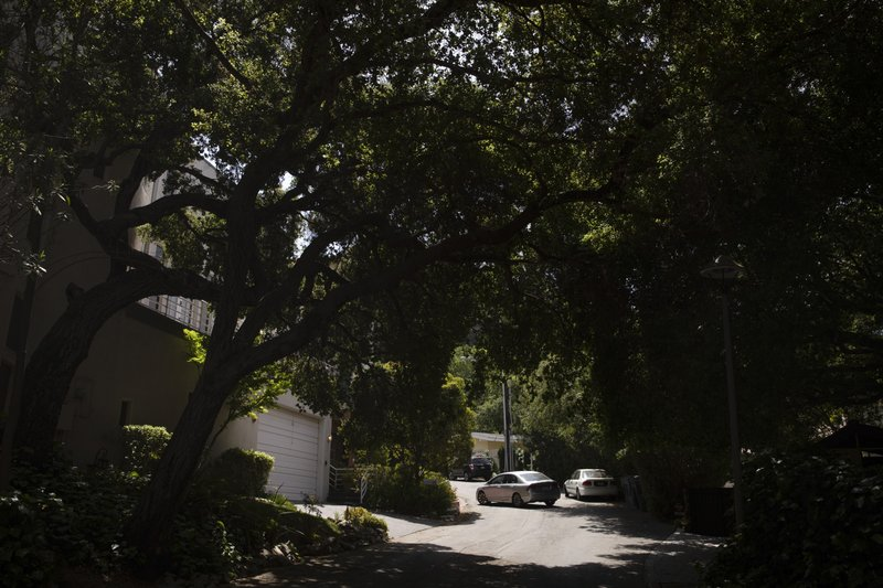 In this April 15, 2019 photo, a small car pulls into a garage as tall trees shade a narrow street in the Chevy Chase Canyon neighborhood of Glendale, Calif. (AP Photo/Jae C. Hong)