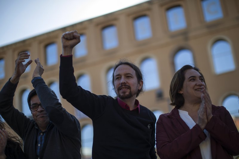 In this Wednesday, April 24, 2019 photo, Podemos party leader Pablo Iglesias, takes part in an electoral meeting in Barcelona, Spain. (AP Photo/Emilio Morenatti)