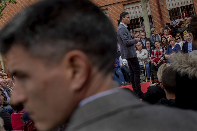 In this Monday, April 15, 2019 photo, Spanish Prime Minister and Socialist Party candidate Pedro Sanchez gives a speech during an election campaign event in Leganes, outskirts of Madrid, Spain. (AP Photo/Bernat Armangue)